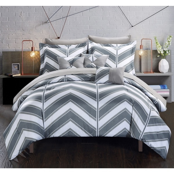 Chic Home Roxy Grey 10-Piece Bed in a Bag with Sheet Set