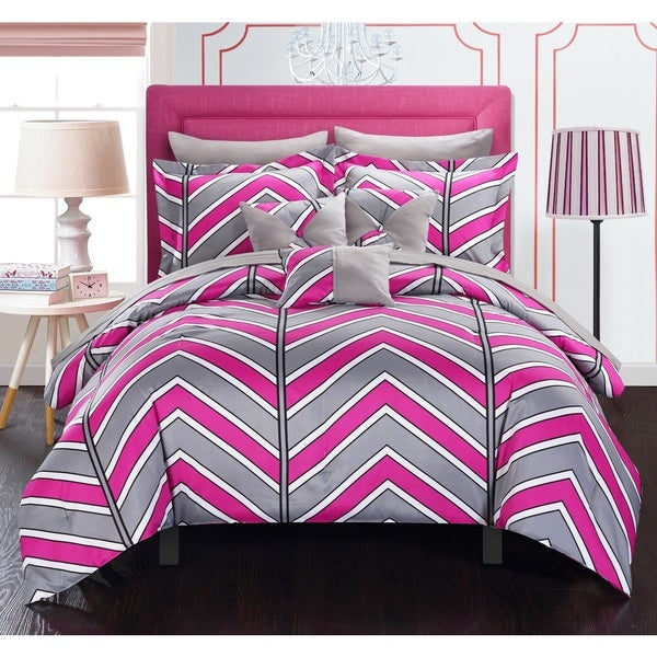 Chic Home Roxy Fuchsia 10-Piece Bed in a Bag with Sheet Set