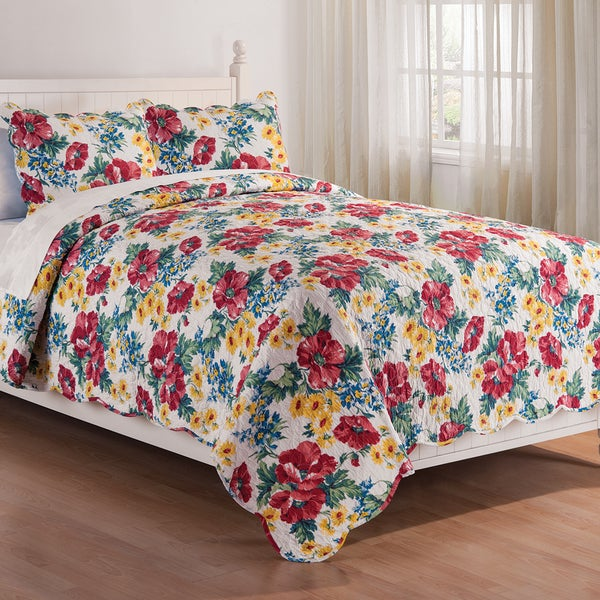 Bedding Vintage Floral Block Pattern Quilt Shams Vivid And Great In Style