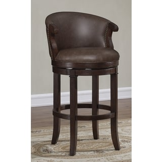 Murphy 26-inch Brown Bonded Leather Swivel Counter Stool by Greyson Living