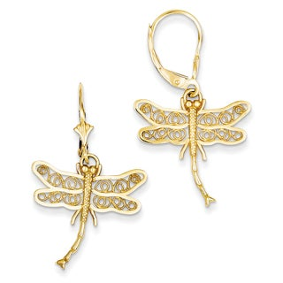 14k Dragonfly with Filigree Wings Leverback Earrings by Versil