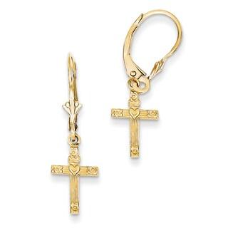 14k Mini Cross with Heart Leverback Earrings by Versil