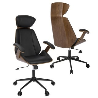 Spectre Mid-Century Modern Walnut Wood Office Chair