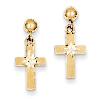14k Satin and Diamond -Cut Cross Earrings by Versil