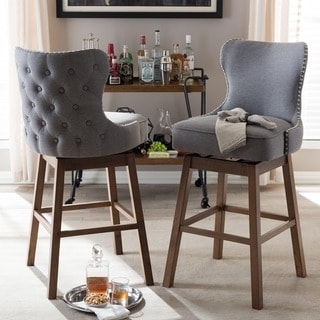 "Traditional Fabric 30"" Bar Stool by Baxton Studio- Set of 2"