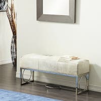 Contemporary Stainless Steel and Leather Patchwork Bench by Studio 350