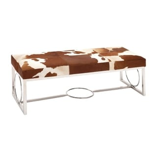 Western Traditional Stainless Steel Spotted Cow Leather Hide Bench