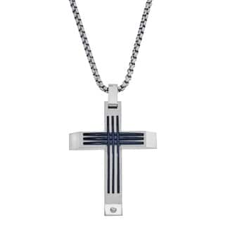 Men's Stainless Steel Cross with Diamond Accent By Ever One|https://ak1.ostkcdn.com/images/products/12218838/P19064307.jpg?impolicy=medium