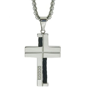 Men's Stainless Steel Diamond Cross with Black Wire Braid By Ever One