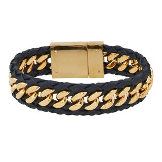 Men's Black Leather and Yellow IP Stainless Steel Bracelet By Ever One