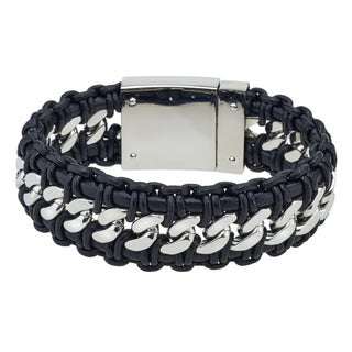 Men's Black Leather and High-polished Stainless Steel Bracelet By Ever One