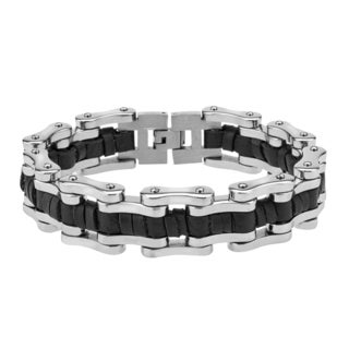 Men's Stainless Steel/Leather 8.5-inch Bicycle Chainlink Bracelet By Ever One