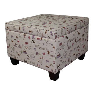 Kids Print Square Storage Ottoman