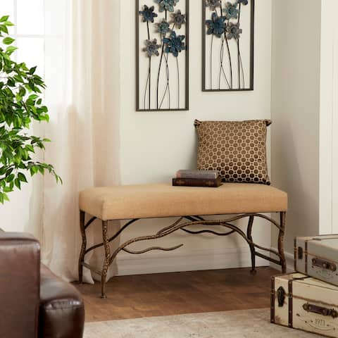 Traditional Iron and Wood Twig-Designed Fabric Bench by Studio 350