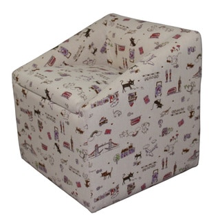 Kids Storage Beige Cat Print Chair