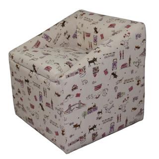 Kids Storage Beige Cat Print Chair