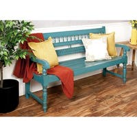 Traditional Blue Mahogany Wood Bench by Studio 350