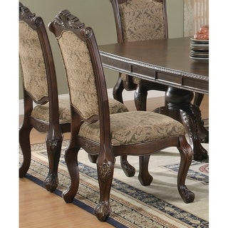 Andrea Dining Collection Brown and Beige Upholstered Side Chair