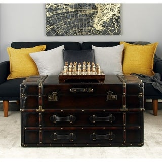 "21"" x 40"" Traditional Wood and Leather Coffee Table by Studio 350"