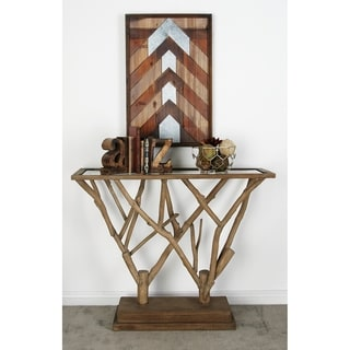 Wood Glass Console Table (45 inches wide x 36 inches high)
