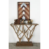 Natural 36 x 45 Inch Branch Design Wooden Console Table by Studio 350