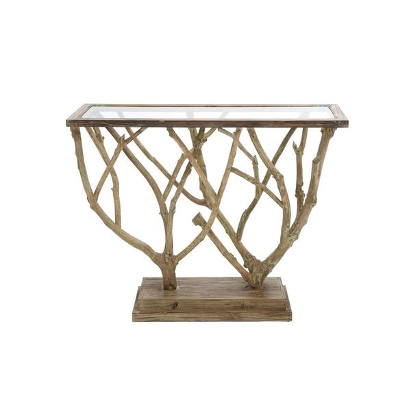 Wood glass console table 45 inches wide x 36 inches high for 10 inch sofa table