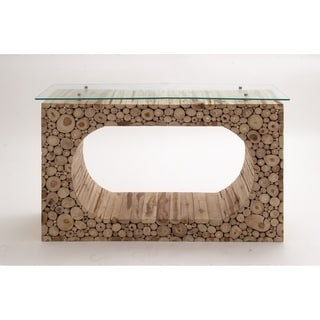 Teak Wood Console (W Glass 49 inches wide x 32 inches high)