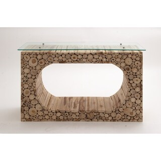 Natural 32 Inch Teak Wood Console Table with Glass Top by Studio 350