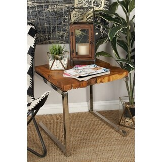 Stainless Steel Teak Wood Side Table (22 inches high x 20 inches wide)