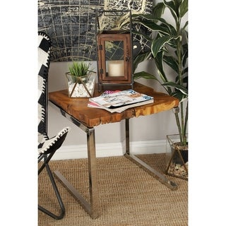 Beau Stainless Steel Teak Wood Side Table (22 Inches High X 20 Inches Wide)
