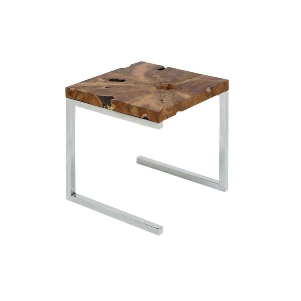Stainless Steel Teak Wood Side Table 22 Inches High X 20 Wide