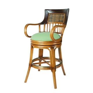 Leather Accented Blue Cushioned Counter Height Rattan Barstool