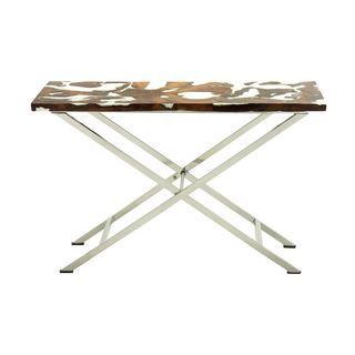 Stainless Steel Teak Console Table (48 inches wide x 31 inches high)