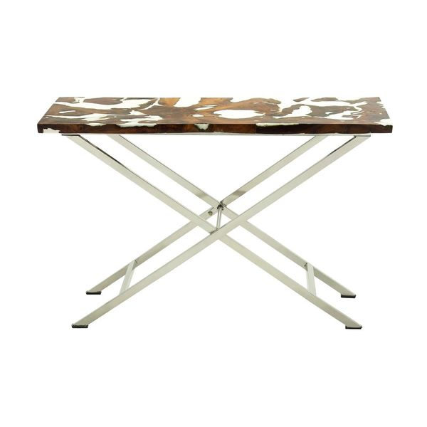 Shop Stainless Steel Teak Console Table 48 Inches Wide X