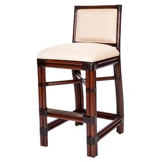 Windsor Wood White Cushioned Barstool