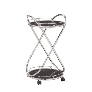 Coaster Company Chrome Metal Black Glass Serving Cart