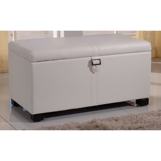 Classic White Mid-size Storage Bench with Buckle and Twin Hydraulic Hinges