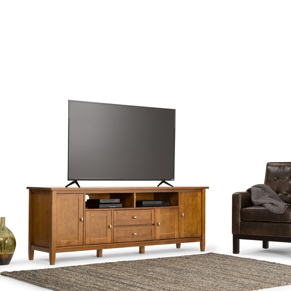 Shop Wyndenhall Norfolk 72 Inch Honey Brown Tv Stand For Up To 80