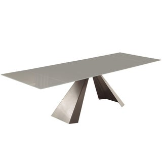 Casabianca Home Arrow Collection Titanium Silver Base White Glass Dining Table
