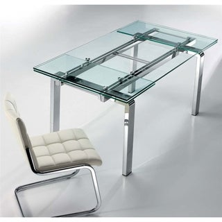 Casabianca Home CLOUD Collection Stainless Steel Extendable Dining Table - Silver