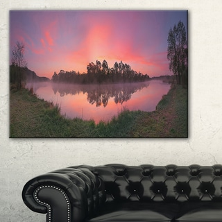 Purple Tinged Lake Sunrise View - Landscape Artwork Canvas