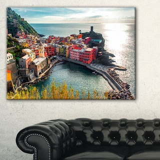 Vernazza Bay Aerial View - Large Seascape Art Canvas Print