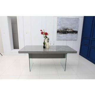 Casabianca Home IL VETRO Collection High Gloss Gray Lacquer Extendable Dining Table