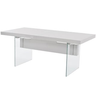 Casabianca Home IL VETRO Collection High Gloss White Lacquer Extendable Dining Table