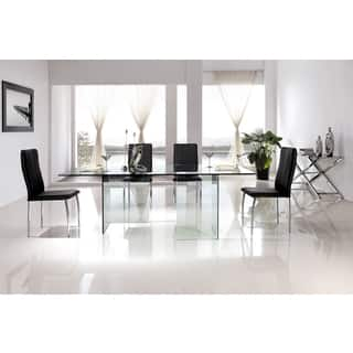 casabianca home miami collection clear glass dining table - White Glass Dining Table