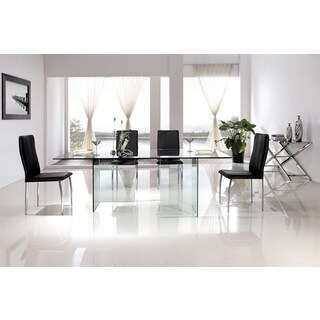Casabianca Home MIAMI Collection Clear Glass Dining Table