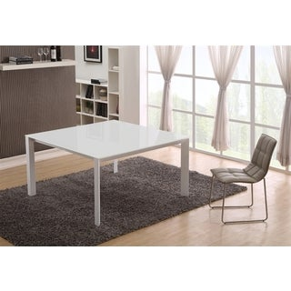 Casabianca Home NAPLES Collection White Glass Dining Table