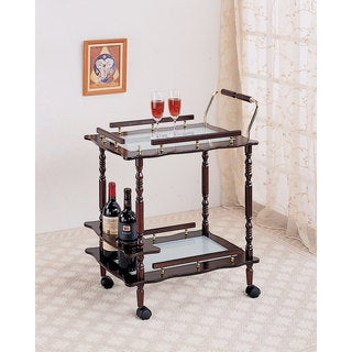 Coaster Company Cherry/ Frosted Glass Serving Cart