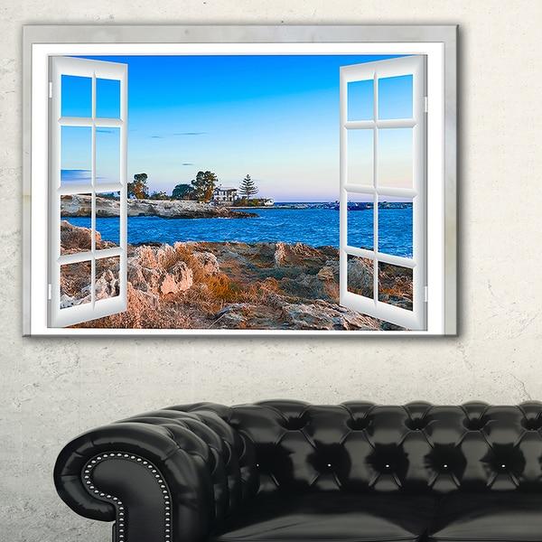 Shop Open Window To Blue Seashore Oversized Landscape