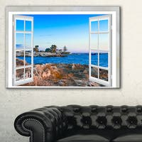 Open Window to Blue Seashore - Oversized Landscape Wall Art Print